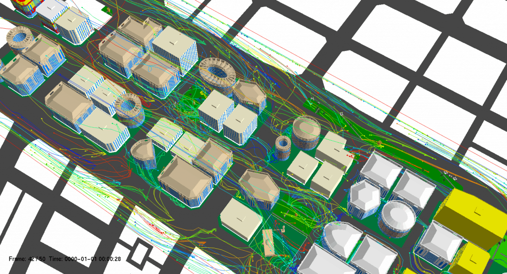 Wind flow analysis of CityEngine models