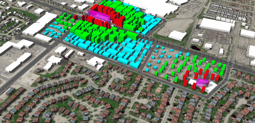 Mixing analytical with geo-typical visualisations in Esri CityEngine allows for faster iterative urban design